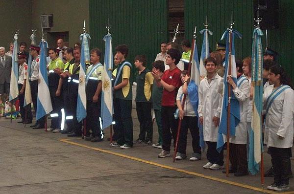 Acto en el Dia de la Defensa Civil, en Buenos Aires