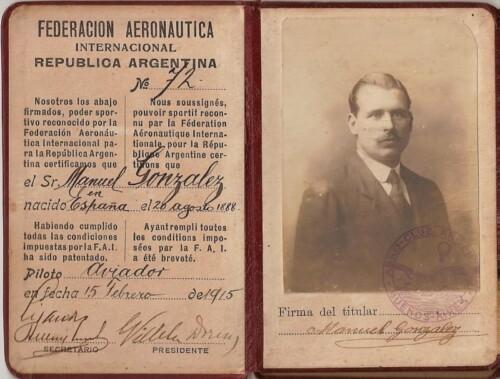 Brevet de piloto de Manuel González, 15 de febrero de 1915